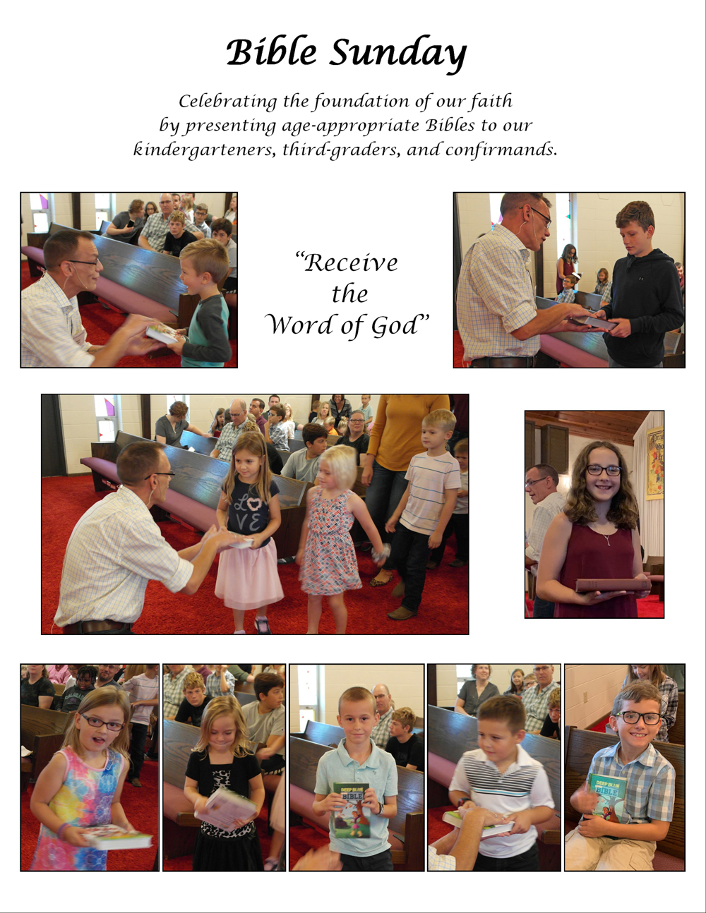 Bible Sunday:  Celebrating the foundation of our faith with Bibles for our children.