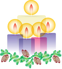 Five candles of Advent:  Hope, Peace, Joy, Love, and the Christ candle